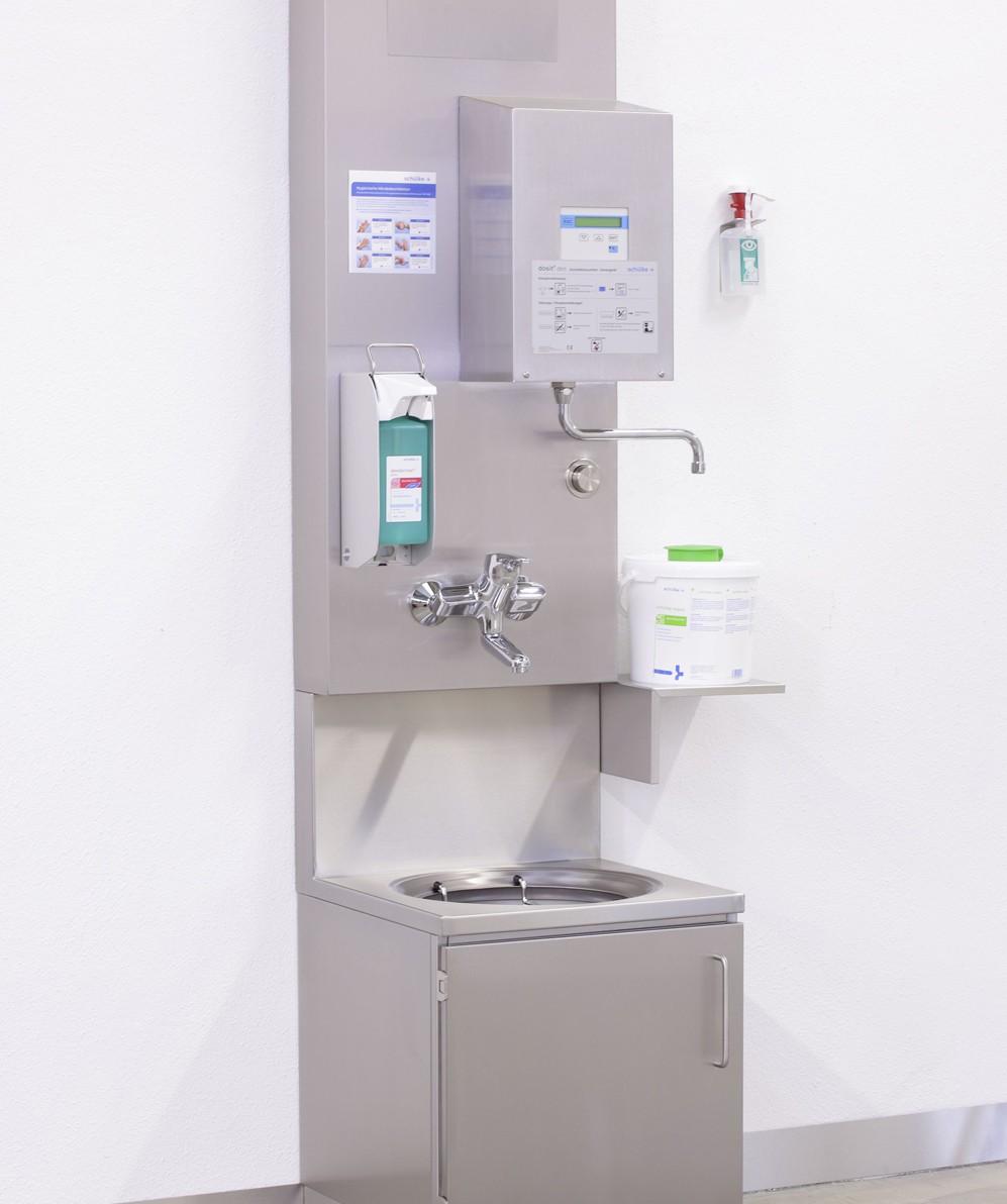 Spécialement conçu pour la partie sale des salles de retraitement et les stations de nettoyage dans les cliniques et les établissements médicosociaux ou toute salle avec des exigences similaires.